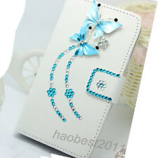 Bling Diamonds Crystal lover blue butterflys PU Leather flip wallet Cover Case G
