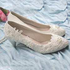 Lace Pearl White Wedding Shoes Bridal High Heel Pump Low High Heels Size 11