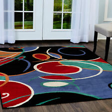 Multi-Color Modern Area Rug Abstract Lines Swirls Contemporary Geometric Carpet