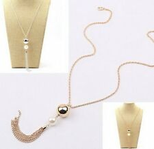 Fashion Women's Lady Long Chain Pearls Charms Sweater Chain Tassel Necklace Hot
