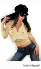 """NEW $79 """"Arden B"""" Sexy Cropped 3/4 Sleeve Wide Elastic Band Silk Jacket S Junior"""