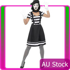 Ladies Mesmerizing Mime Costume French Artist Clown Circus Womens Fancy Dress
