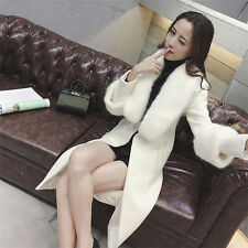 Elegance Fur collar woolen overcoat winter Warmth white Slim fit Womens
