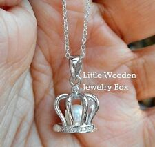 Princess Crown~925 Sterling Silver~Charm Pendant Queen Pearl Chain Necklace