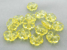 10mm 60/100/../500pcs CLEAR YELLOW ACRYLIC PLASTIC FLOWER BEADS TY05571