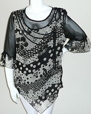Simply Irresistible Floral Polka Dot Top Blouse w/ Sheer Sleeves - Plus 1X & 2X