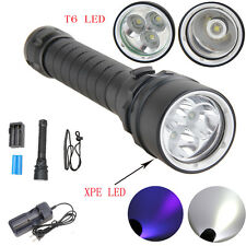 6000LM XPE LED/XM-L T6 Scuba Diving Flashlight Underwater Torch+Battery+Charger