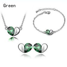 Heart Rhinestone Silver Drop Earring Pendant Bracelet Necklace Jewellery 1Set