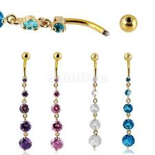 Belly Bar Dangle Reverse Clear Crystal Body Piercing Belly Bars Navel Fancy Ring
