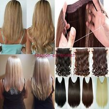 Real Thick Clip in Hair Extensions Wire Piece Straight Curly 1PCS Lady Hairpiece