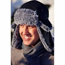 Men One Size Winter Fleece Trapper Ski Winter Hat Cap With Faux Fur Trim toggle