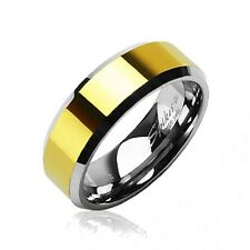 MENS or WOMENS TUNGSTEN GOLD PLATED TWO TONE WEDDING RING 5 6 7 8 11 12 13