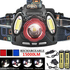 3x CREE T6 15000LM Rechargeable Headlamp HeadLight USB Lamp Torch +18650+Charger