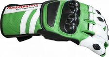 Motorcycle gloves Cowhide leather green/white