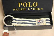NEW POLO BY RALPH LAUREN STRIPED WHITE AND BLUE KEY FOB