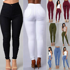 Womens Ladies Pencil Stretch Denim Skinny Jeans Pants High Waist Jeans Trousers