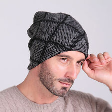 Mens Winter slouchy Visor Brim Crochet Beanie Hat Thick Knit Ski Hit-hop Cap