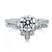 BERRICLE Sterling Silver Round CZ 3-Stone Engagement Ring Set 1.665 Carat