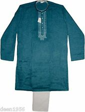 Men's Embroidered Kurta-Pajama Yoga-Meditation-Casual Wear Linen Blend SUS Blue