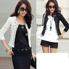 New Womens Outwear Suit OL Blazer Long Sleeve Rivet Lady Short Jacket Coat D0X8