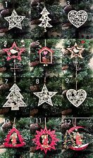 Selection Wooden Hanging Star Heart Tree Christmas Tree Decorations