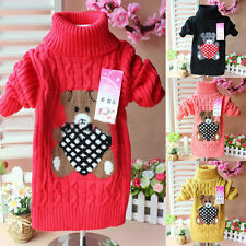 Kids Baby Boys Girls Winter Long Sleeve Turtle Neck Pullover Top Sweaters 1-4Y