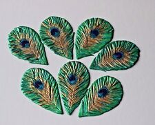 Peacock Feathers Edible Sugar Cupcake Topper Wedding, Birthday Cake Decoration