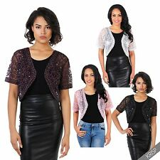 Womens Vintage Sequin Mesh Party Shrug Bolero Ladies Crop Cardigan Top Christmas