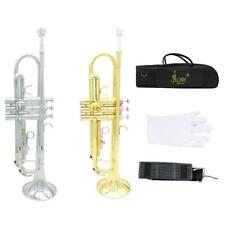 Hot Concert Brass Student School Orchestra Bb Trumpet Silver Gold Optional