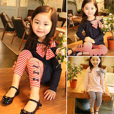 2Pcs Kids Baby Girls Winter Cute Outfits Clothes T-shirt Tops+Pants Trousers Set