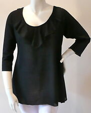 Simply Irresistible Ruffle Front Crochet Back Tunic Blouse Top - Plus 1X 2X 3X