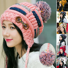 Winter Womens Warm Braided Crochet Wool Knit Hat Girl Beret Ski Beanie Ball Cap