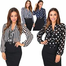 Women Retro Polka Dot Pleated Pussy Bow Tie Chiffon Blouse Top Button Shirt Work