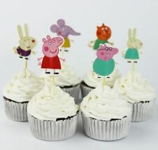 Peppa Pig Theme Decoration Favors Cake Cupcake Topper kids birthday party 24pcs