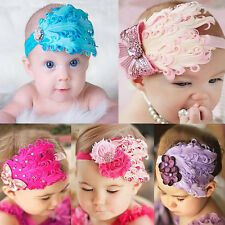 Kids Baby Girl Infant Peacock Feather Flower Diamond Headband Hairband Hairdress