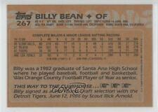 1988 Topps Blank Front #267 Billy Bean Detroit Tigers Bill Rookie Baseball Card