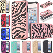 For iPod Touch 6th /5th Gen Zebra Hybrid Shockproof High Impact Hard Case Cover