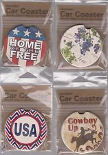Absorbent CAR Cup Holder COASTER Cowboy Up Home of the Free Vino Fox USA Made