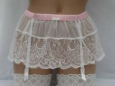 SUSPENDER BELT IVORY LACE / PINK SATIN SIZES 8 or 10 ANN SUMMERS KNICKERBOX BNWT