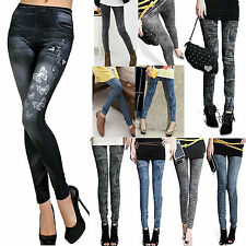 Women Tight Leggings Jeans Denim Look Jeggings Skinny Stretchy Pants Trousers