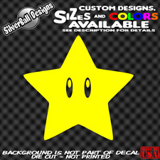 Super Mario Power Star Custom Vinyl sticker 3DS Wii Nintendo NES SNES N64