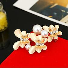 Simple Elegant Butterfly Pearl Brooch Pin Crystal Accessory for Girl Lady Gift
