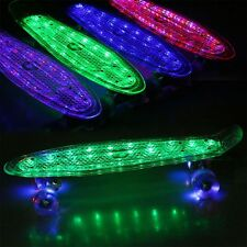 22''Cruiser Crystal Clear Complete Skateboard LED Light up Wheels USB Data Cable