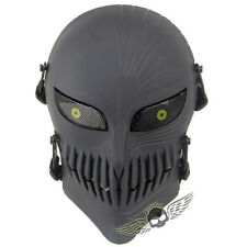 Scary Skull Full Face Mask, Metal Eye Cover, for Airsoft Halloween Masquerade