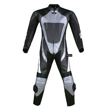 New 1PC One-Piece Armor Leather Motorcycle Racing Suit Silver w/ Hump US Size