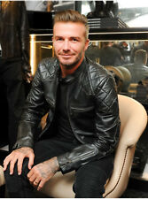 David Beckham New Leather Jacket Lambskin Motorcycle HOT Replica  Genuine MJ112
