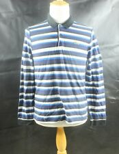Lacoste Alligator Mens Size 6 S Small Long Sleeve Polo Rugby Blue Striped