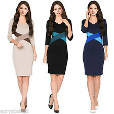 Womens Elegant Formal Office Business Dress Peplum Bodycon Pencil Sheath Dresses