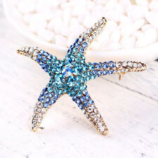 New Gorgeous Women Lady Charming Starfish Crystal Rhinestone Pin Brooch 3 Colors