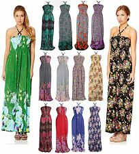 Long Floral Pattern Print Bead Halterneck Summer Maxi Casual Day Dress UK 8-16